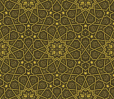 Islamic ornament golden  black background, vector illustration Stock Illustratie