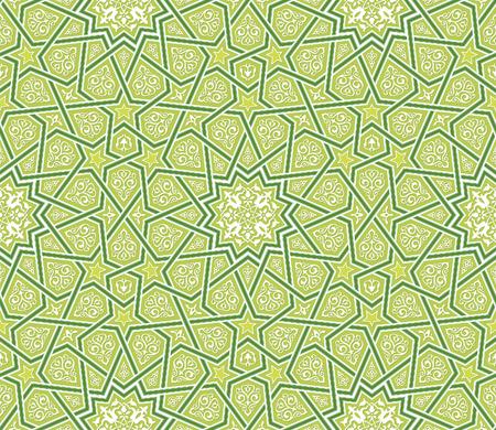 arabesco: Arabesque Ornamento de la estrella de fondo verde, ilustración vectorial Vectores