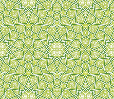 star pattern: Arabesque Star Ornament Green Background, Vector Illustration Illustration