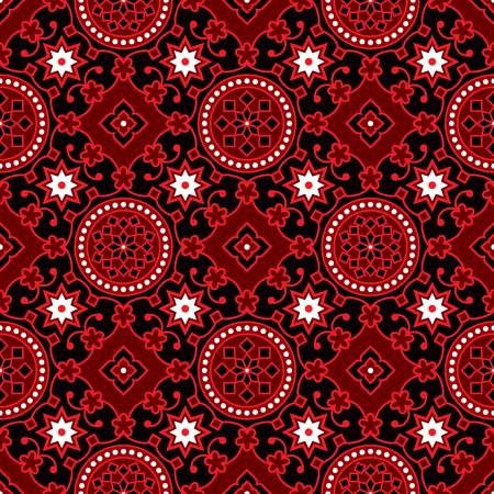 printed: Black Ajrak Vector Pattern Illustration