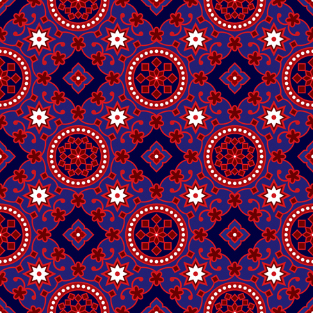 printed: Blue Ajrak Vector Pattern