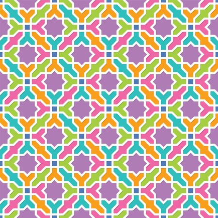 Arabesque pattern in Arabian style, Seamless vector background, Colourful Wallpaper Illusztráció