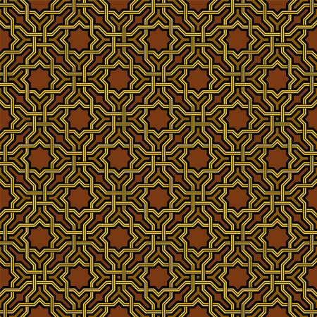arabesque pattern: Arabesque pattern in Arabian style, Seamless vector background, Dark Wallpaper Illustration
