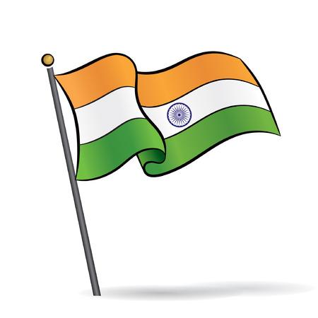 bandera: Bandera de la India ondeando en el viento, ilustración vectorial