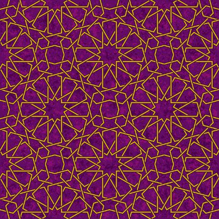 Arabesque Patroon van de Ster van Grunge paarse achtergrond, Vector Illustratie