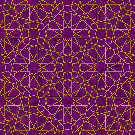 Arabesque Star Pattern with Grunge Purple Background, Vector Illustration