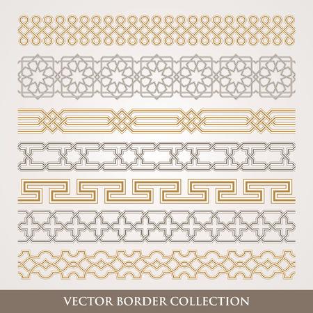 Arabic Seamless geometric border set, Traditional Islamic Design Collection,  Mosque decoration element pattern Illustration
