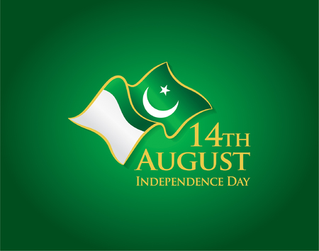 Pakistan Independence day, 14th august. Vector typographic emblems, logo or badge Illusztráció