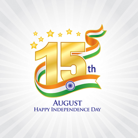 15th August India Independence icon, Typographic emblems and badge with grey background, An inscription in English.