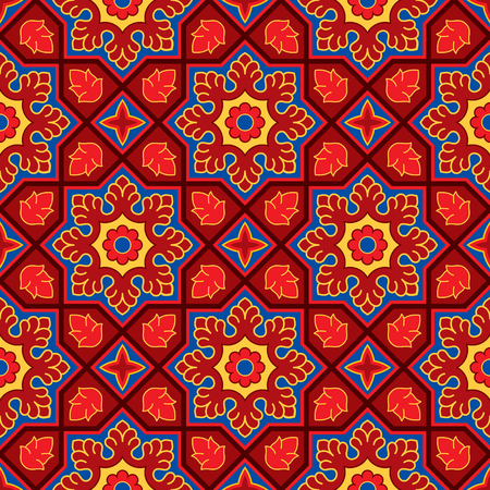 Sindhi traditional pattern background, Red & Blue Wallpaper, Vector Illustration