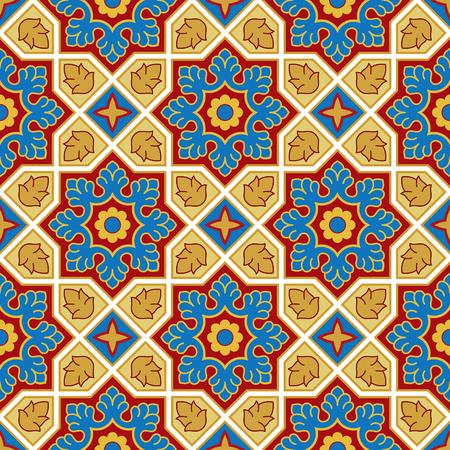 Sindhi 전통적인 패턴 배경입니다. 파란색, 빨간색과 황금 바탕 화면합니다. 벡터 일러스트 레이 션.