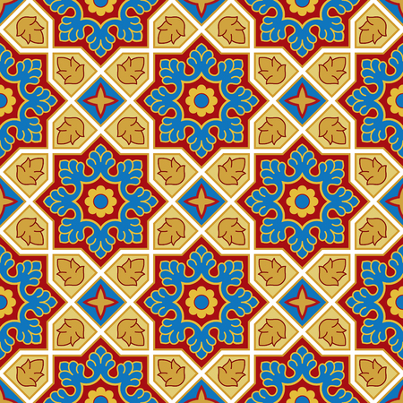Sindhi traditional pattern background. Blue, red and golden Wallpaper. Vector illustration. Illustration