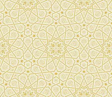 イスラム星装飾黄金の背景、ベクトルイラスト  イラスト・ベクター素材