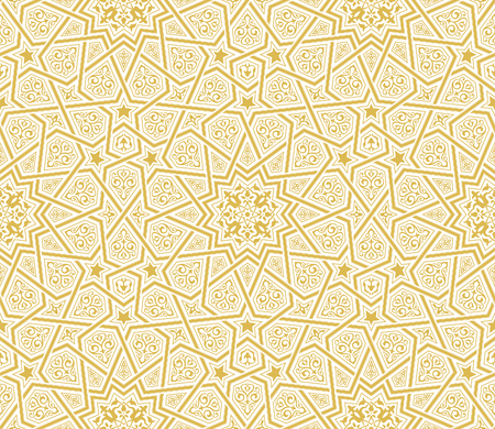 Islamic Star Ornament Golden Background, Vector Illustration