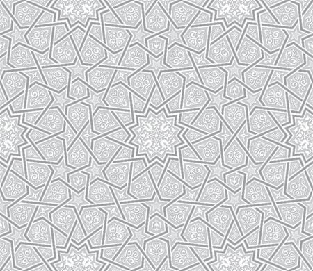 Arabesque Star Ornament Light Grey Background, Vector Illustration