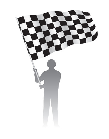 Man holding Waving Flag with checkered Black