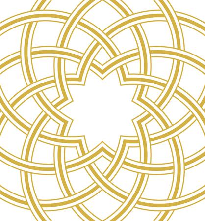 Islamic dome golden background, Round Square Design, vector illustration Vettoriali