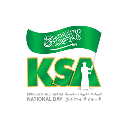 KSA National Day Logo with young Saudi hold Flag, An inscription in English & Arabic