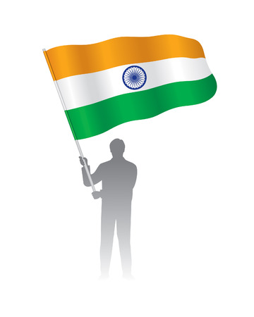 Young Indian holding flag, Vector illustration on white background. Illustration