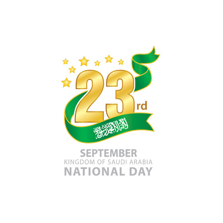 23rd September Saudi Arabia National Day icon, Typographic emblems and badge with white background. An inscription in English.