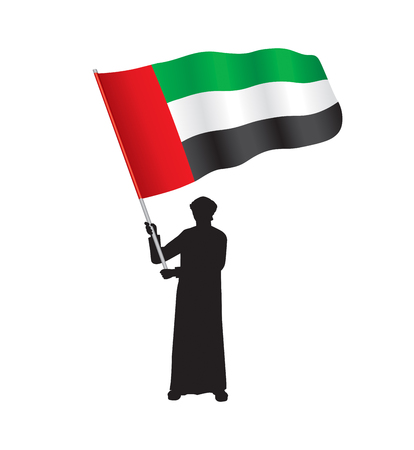 Young Emirati Holding UAE Flag, Vector Illustration Illusztráció