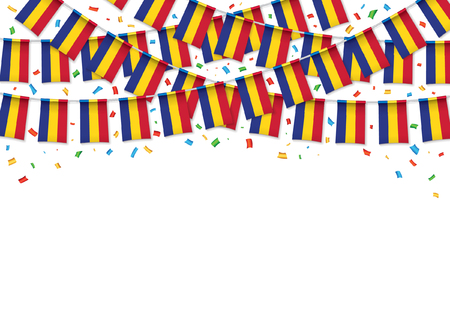 Romania flags garland white background with confetti, Hang bunting for Romanian National Day celebration template banner, Vector illustration