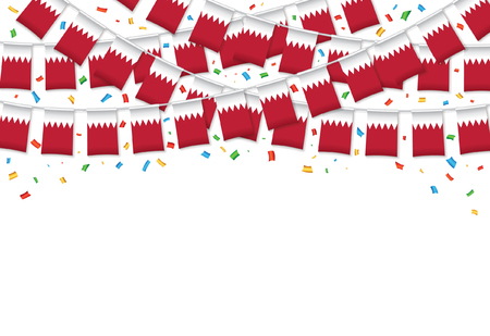 Bahrain flags garland white background with confetti, Hang bunting for Bahraini independence Day celebration template banner, Vector illustration Illustration