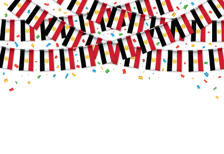 Egypt flags garland white background with confetti, Hang bunting for Egyptian independence Day celebration template banner, Vector illustration