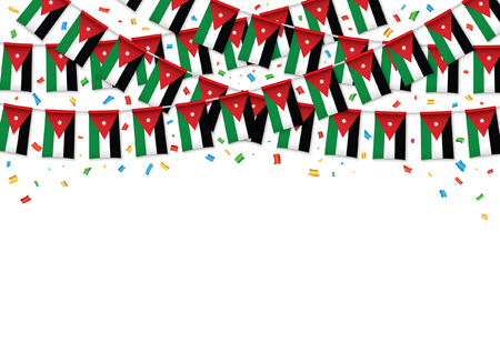 Jordan flag garland white background with confetti, Hang bunting for Jordanian independence Day celebration template banner, Vector illustration