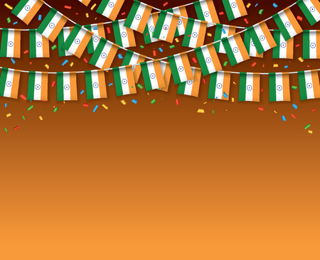 India flags garland dark background with confetti, Hang bunting for Indian Independence day celebration template banner, vector illustration.