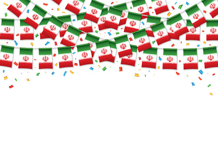 Iran flag garland white background with confetti, Hang bunting for Iranian independence Day celebration template banner, Vector illustration