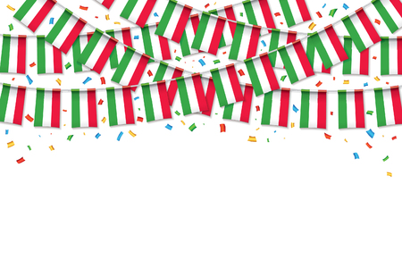 Italy flags garland white background with confetti, hanging bunting for Italian Independence day celebration template banner, vector illustration.