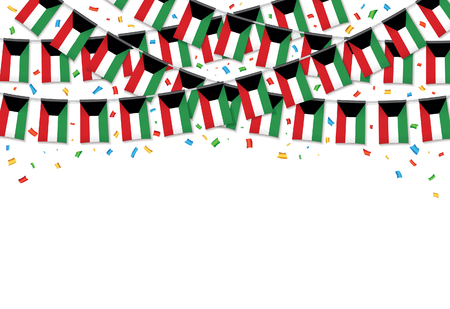 Kuwait flags garland white background with confetti, hang bunting for National Day celebration template banner, vector illustration.