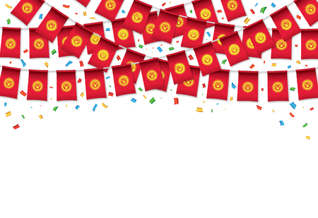 Kyrgyzstan flags garland white background with confetti, Hang bunting for Kyrgyzstan independence day celebration template banner, Vector illustration Illusztráció