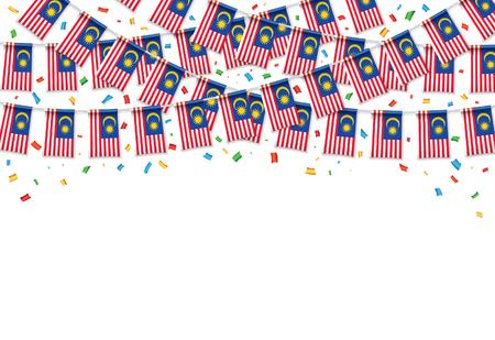 Drapeaux malaisiens fond blanc guirlande avec des confettis, accrocher bunting pour bannière de modèle de célébration de la fête de l'indépendance de Malaisie, illustration vectorielle. Vecteurs