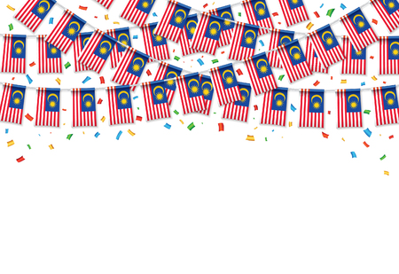 Malaysian flags garland white background with confetti, hang bunting for Malaysia Independence day celebration template banner, vector illustration.