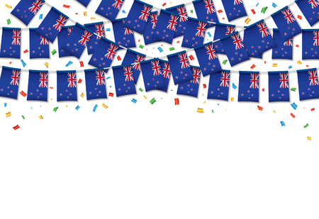 New Zealand flag garland white background with confetti, Hang bunting for independence Day celebration template banner, Vector illustration.