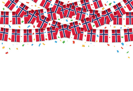 Norway flag garland white background with confetti, Hang bunting for Norway independence Day celebration template banner, Vector illustration
