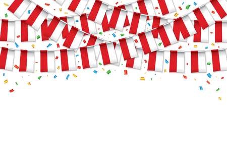 Poland flags garland white background with confetti, Hang bunting for Poland Independence Day celebration template banner, Vector illustration. Illusztráció