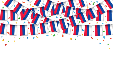 Russian flags garland white background with confetti, Hanging bunting for Russia Day celebration template banner, Vector illustration