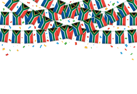 South Africa flags garland white background with confetti, Hanging bunting for Independence Day celebration template banner, Vector illustration