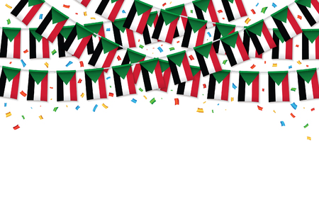 Sudan flags garland white background with confetti, Hang bunting for Sudan independence Day celebration template banner, Vector illustration Illusztráció