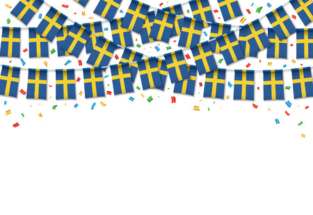 Sweden flags garland white background with confetti, Hang bunting for Swedish independence Day celebration template banner, Vector illustration