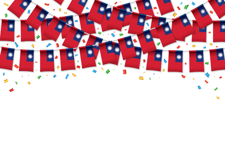 Taiwan flags garland white background with confetti, Hang bunting for Taiwanese independence Day celebration template banner, Vector illustration Illusztráció