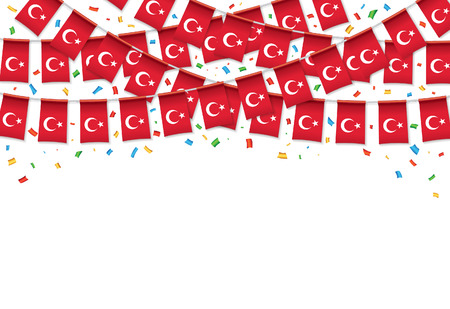 Turkish flags garland white background with confetti, Hang bunting for Turkey day celebration template banner, vector illustration. Illusztráció