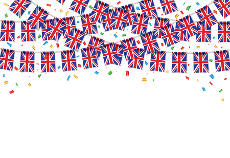 UK flags garland white background with confetti, hang bunting for United Kingdom Day celebration template banner, vector illustration. Illusztráció