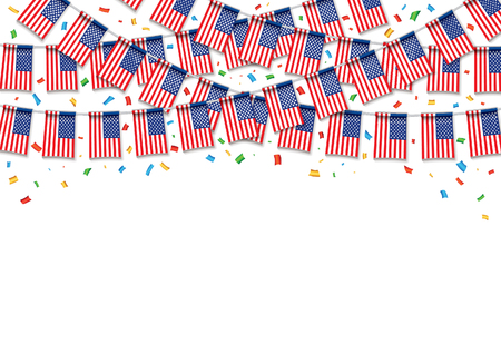 Garland USA Flags with white background, template banner, hanging bunting flags for July 4th national holiday celebration, vector illustration.