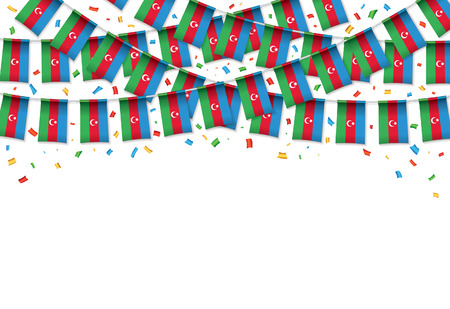 Azerbaijan flag garland white background with confetti, Hang bunting for Azerbaijani independence Day celebration template banner, Vector illustration Illusztráció