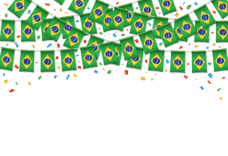 Brazil flags garland white background with confetti, Hang bunting for brazilian independence Day celebration template banner, Vector illustration