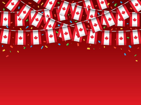Canadian flags garland Red background with confetti, Hanging bunting for Canada Day celebration banner, Vector illustration